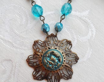 Antique Button Necklace with Czech Glass Beads, Teal Blue, Antique Brass Ox, Leaf Design or Feather