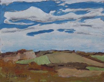 """Small Landscape Oil Painting Original Impressionist Abstract Pochade Cloudscape Fall Quebec Canada Fournier """" Autumn On The Valley """" 10 x 12"""
