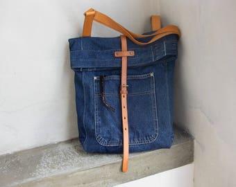 Cross Body Denim Bag, Fold Over Denim Bag, Over Shoulder Denim Bag, Recycled Handbag, Denim Tote Bag, Blue Jeans Handbag, Leather Denim Bag