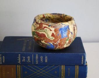 Ozark Roadside Pottery, 1930s Pottery Planter, Primitive Tourist Ware, Multicolored Planter Flower Pot, Rustic Cabin Decor, Swirl Drip Glaze