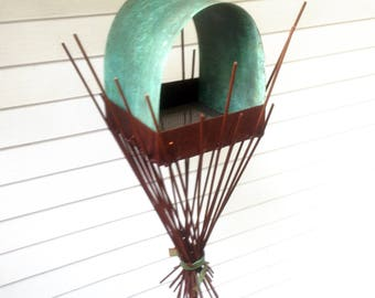 Sculptural Steel & Copper Bird Feeder No. 356 - Freestanding unique modern bird feeder