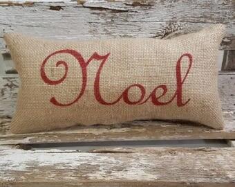 """Burlap Noel Pillow 6"""" x 13"""" Stuffed Burlap Pillow Noel Rustic Farmhouse Holiday Decor"""