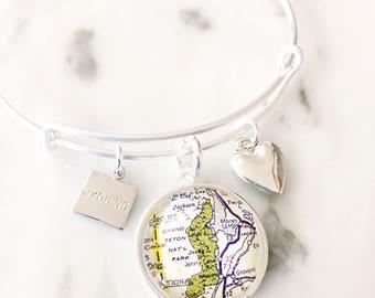 Grand Teton National Park Charm Bracelet - Map Bracelet - Grand Teton Bracelet - Tetons - Grand Teton Jewelry - Wyoming