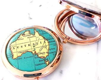Australia Mirror Compact - Rose Gold - Compact Mirror - Makeup Mirror - Purse Mirror - Bridesmaid Gift - Honeymoon Gift - Australia Compact