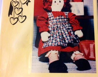 """Rag Doll Pattern Prairie Petticoats Country Annie 20"""" Rag Doll Country Heartstrings Uncut  Complete"""