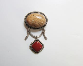 Sterling Silver Southwestern Pendant or Brooch with Brown and Red Jasper Stones    0687