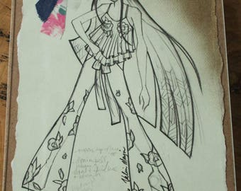 Exclusive Fashion Illustration with Fabric Clippings - Created by Project Runway's Valerie Mayen, Runway Garment Sketch, Wall Art Print