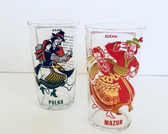 Vintage Dancing Glasses Ethnic Folk Polish Dance of Polka and Mazur Collectible Water Tumblers