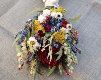 Romantic Montana Flower Girl Posie  Lavender and Burgundy Peonies, Dried Flowers, Grasses and Grains