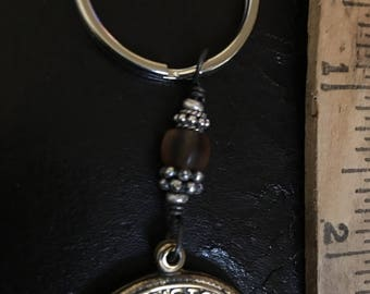 Brass Saint Christopher Key Chain With Beads