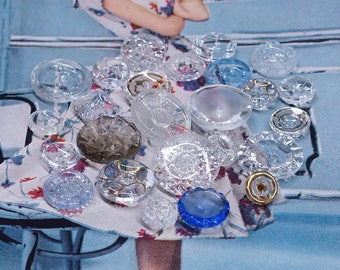 Vintage Glass Buttons - lot of 25 Clear Glass Buttons mix