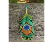 Peacock Feather - Leather Bird Feather Pendant - 3 inches