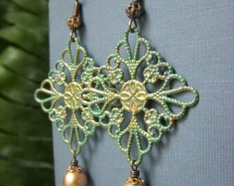 Patina Filigree Earrings, Brass Hand Patina Verdigris Earrings, Hand Painted Boho Earrings, Genuine Pearl Accent, Bohemian Filigree