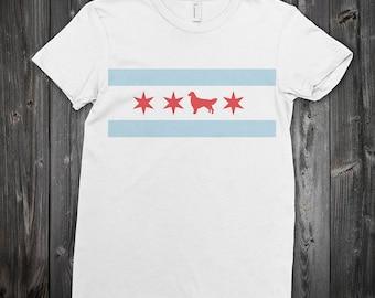 Chicago Flag Golden Retriever T-shirt - Chicago t-shirt - dog t-shirt - dog lover t-shirt - t-shirt for Chicago dog lover