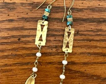 Brass leaf tail earrings