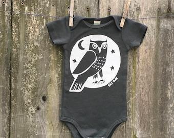 Woodland Grey Owl Infant Short Sleeve One Piece