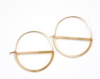 Half Moon Hoop Earrings | Half Circle Earrings | Delicate Earrings | Gold Hoops | Hoop Earrings | Brass Earrings | Minimalist Earrings