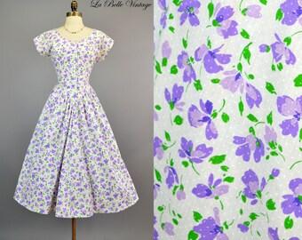 Vintage Lilac Floral Print Dress S M ~ Full Skirt