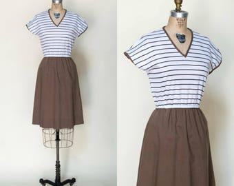 1970s Striped Dress --- VIntage Brown Dress