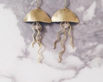 Jellyfish earrings, brass & rose quartz gemstones, sea creatures boho chic jewelry, seaside ocean jewelry