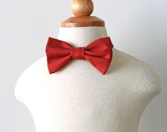 Redwood Bow Tie, Orange Bow Tie, Red Bow Tie, Burnt Orange Bow Tie, Boys Bow Tie, Bow Tie for Toddler, Bow Tie for Baby, Holiday Bow Tie