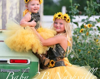 Camo Dress Yellow Sunflower Dress Flower Girl Dress Wedding Dress Mossy Oak Tutu Dress Baby Dress Toddler Dress Tulle Dress Girls Dress