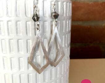 ROCKER CHIC - Silver Geometric Dangle Charm Earrings