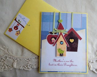 Handmade Mother's Day Card: Daughter, complete card, handmade, balsampondsdesign, birds, birdhouses,mother to daughter