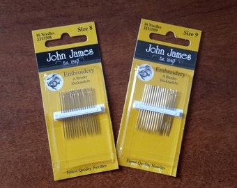 John James Embroidery Needles -- Size 8 or Size 9 -- Your Choice
