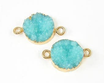 Aqua Druzy Earring Connector Aqua Gold Bracelet Connector Turquoise Gold Trimmed Earring Finding Jewelry Link with Two Rings |B7-13|2