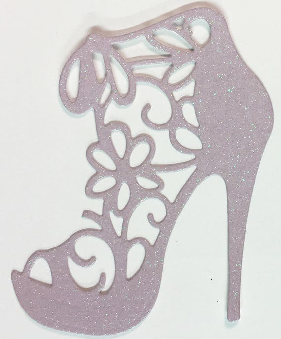 High Heel Shoe Die Cut Lavender Glitter Card Stock - Glamorous Feminine Embellishment Scrapbook Card Party Invitation Art Craft Collage