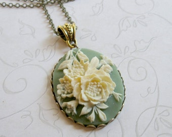 Cameo necklace, vintage style, sage green, long chain - flower pendant
