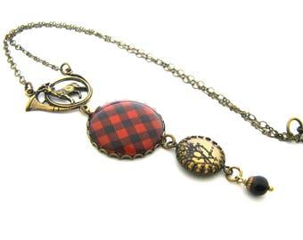 Scottish Tartan Jewelry - Rob Roy MacGregor Tartan Necklace w/St. Hubert's Deer Stag Bail Luckenbooth Charm & Mystic Black Swarovski Crystal