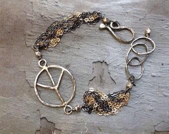Peace Bracelet - Gold Silver Chain Bracelet - Mixed Metal Bracelet - Oxidized Sterling Silver Bracelet - Rustic Boho Bracelet