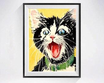Tuxedo cat, Black cat, Happy print, Valentine Sale, Happy Sign, Happy Cat Prints, Cat wall art, Inspirational, Watercolor, Nursery Art,