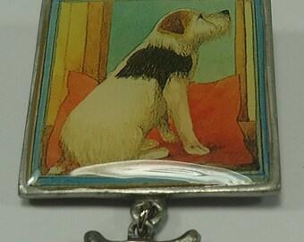 Dog Pin / Brooch With A Small Bone Charm From Marjolein Bastin Hallmark