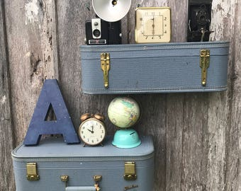 Pair of Wall Shelves Made from a Blue STARLINE Suitcase Luggage Repurposed Shelf Travel Inspired