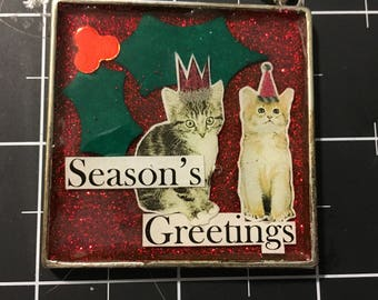 The Holly and the Kitties Ornament, Perfect Gift for Vets, Cat Lovers, Rescuers, 50% goes to the shop's selected animal protection charity.