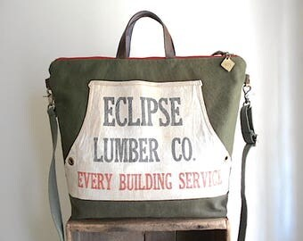 Eclipse Lumber Co. & military canvas carryall, tote bag - Seattle Everett Washington- eco vintage fabrics