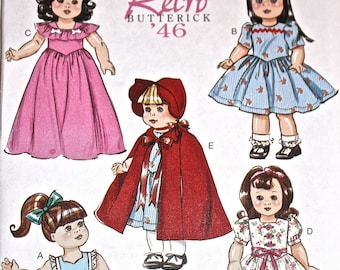"""Retro '46 Butterick Pattern B6149, Vintage Style  for 18"""" Dolls, Red Riding Hood Cape"""