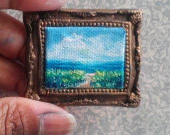 1:6 Scale Pathway to Ocean Oil Painting, Framed almost READY to SHIP