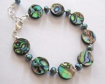 Abalone Beads Freshwater Pearl Bracelet, Sterling Silver, Reversible Bracelet