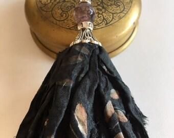 Sari Silk Tassel-Black Pattern Tassel Necklace-Boho Tassel Jewelry