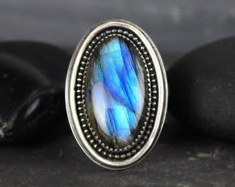 Labradorite Ring, Blue Flash Labradorite Ring, Statement Ring, Big Ring, Boho Ring, Hammered Silver Band, Size 8, Ready to Ship
