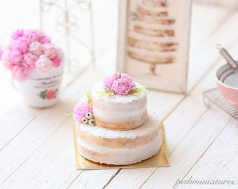 Dollhouse Miniature Cake - Pink Peonies Naked Cake