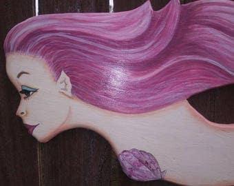 Mermaid Custom Wall Hanging Hand-Painted Beauty OOAK