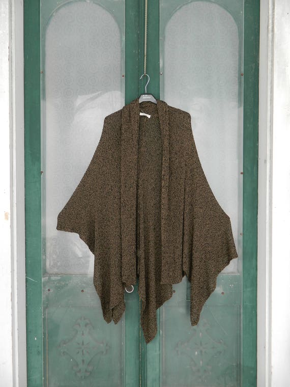 Coldwater Creek Poncho Cardigan Sweater -L/XL- Brown/Black Loose Knit Acrylic/Nulon