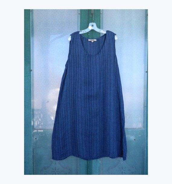 FLAX Engelhart Sleeveless Shift -L- Navy Blue Stripe Linen