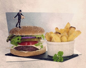 The sesame seed sower photo print, Hamburger themed kitchen Decor, Fast food lover, Tiny trades, Food Photography, kitchen wall decor