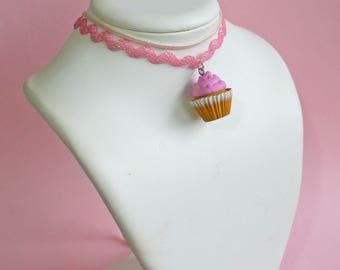 Kawaii Pink Cupcake Choker, Iridescent Choker Necklace, Pink 90s choker, Mermaid Unicorn, Pastel Goth Jewelry